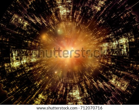 Fractal Swirl series. Arrangement of light and fractal geometry patterns on the subject of design, illustration of modern science and technology #712070716