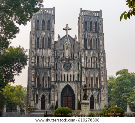 Fragement of architecture of St Joseph's Cathedral in Hanoi, Hanoi, Vietnam