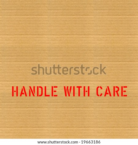 Fragile corrugated cardboard packet Handle with care