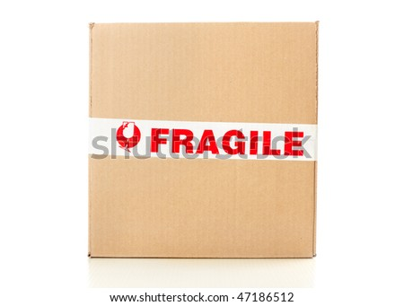 Fragile delivery service. Box, scotch tape, envelops - stock photo