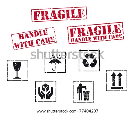 Fragile rubber stamps. Vector available.