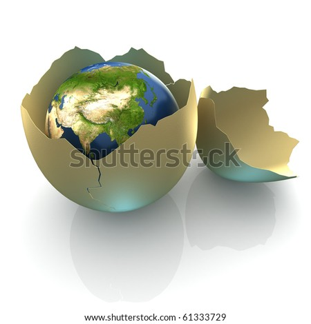 Fragile World - Earth globe facing Central Asia in cracked egg shell