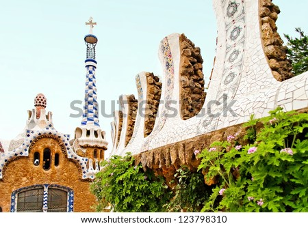 Fragmenes of Gaudi's mosaic work in Park Guell in Barcelona, Spain