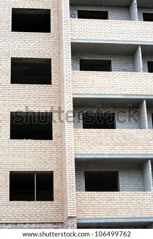 fragment building buildings from brick - stock photo