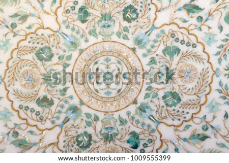 Fragment carved marble panels with floral patterns of enamel, gold and nacre #1009555399