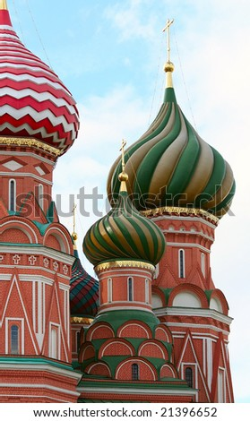 Fragment Cathedral of Saint Basil the Blessed at the Red Square of Russia in Moscow - stock photo