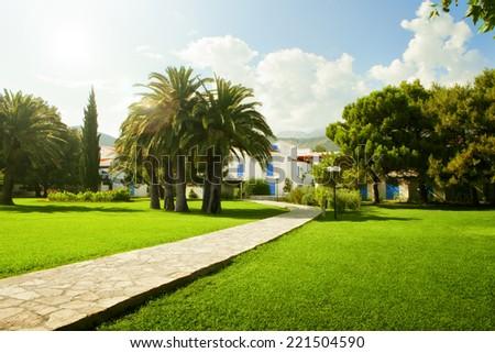 Fragment like  view of nice European summer park