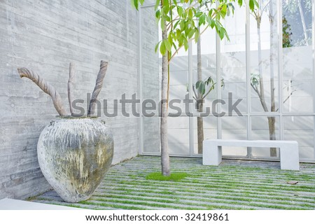 Fragment like view of nice summer house patio - stock photo