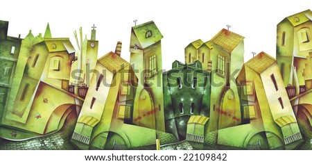 Fragment of a city quarter. Illustration by Eugene Ivanov. - stock photo