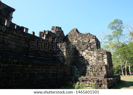 Fragment of a dilapidated corner defensive tower. Antiquities of Southeast Asia.