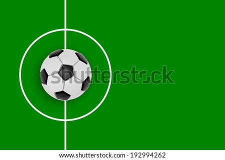 Fragment of a football field and a plasticine ball. Texture, background