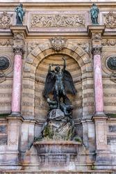 Fragment of a fountain Saint-Michel (architect Gabriel Davioud, 1858 - 1860), Paris, France. Popular architectural historical landmark.