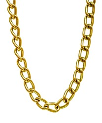 Fragment of a golden chain on a white background.