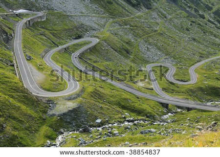 Fragment of a high altitude road in the mountains.Location:Transfagarasan road the highest road in Romania.