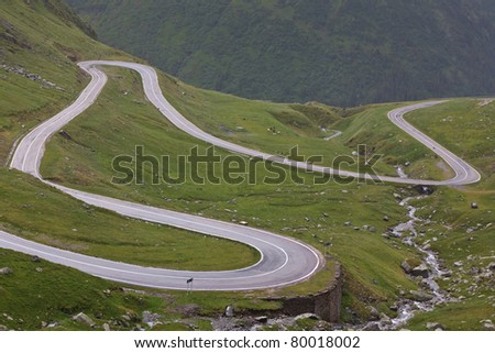 Fragment of a high altitude road in the mountains.Location:Transfagarasan, Romania