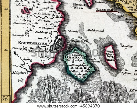 Fragment of a map from XVIII century.