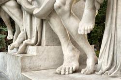 Fragment of a sculpture - legs. Shot in  Ukraine.
