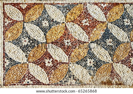 stock photo : Fragment of an ancient geometrical colorful floor mosaic in Herod`s Palace, Caesarea, Israel