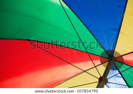 fragment of an colorful umbrella in sunny day