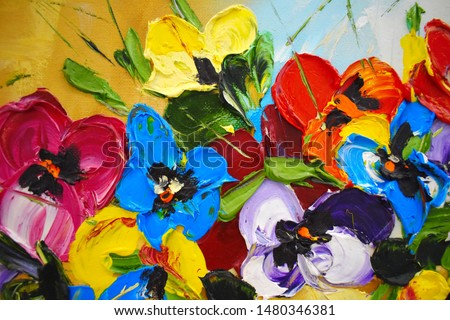 Photo of  Fragment of an oil painting. Drawn bright multi-colored flowers. Abstract colorful background