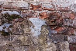 fragment of an old brick wall with dry grass and remnants of snow, spring