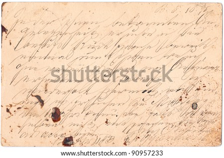 Fragment of an old handwritten letter, written in Germany in 1895. Rich stain and paper details. Can be used for background.