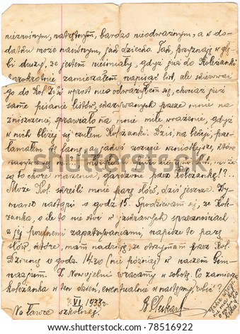 Fragment of an old handwritten letter, written in Polish in 1933. Rich stain and paper details. Can be used for background.