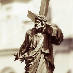 Fragment of antique statue - the crucifixion of Jesus Christ