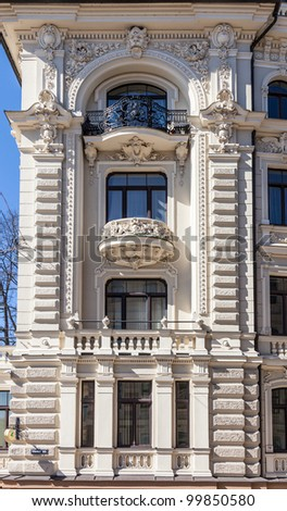 Fragment of Art Nouveau architecture style of Riga city #99850580