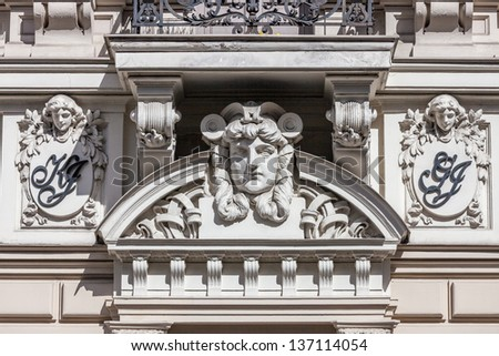 Fragment of Art Nouveau architecture style of Riga city , Latvia #137114054