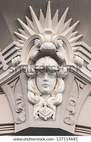 Fragment of Art Nouveau architecture style of Riga city , Latvia #137114681