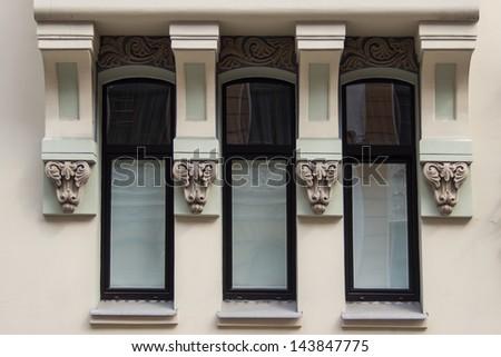 Fragment of Art Nouveau architecture style of Riga city, Latvia