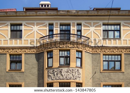 Fragment of Art Nouveau architecture style of Riga city, Latvia