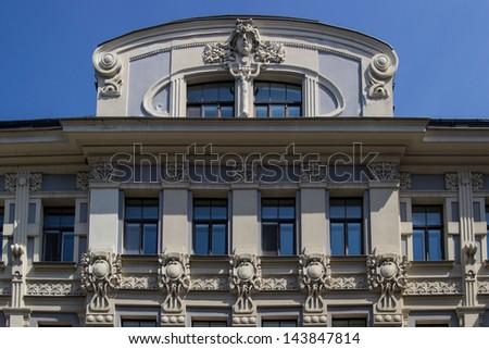 Fragment of Art Nouveau architecture style of Riga city, Latvia - stock photo