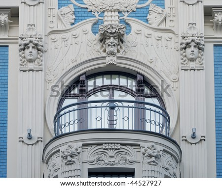 Fragment of Art Nouveau style (Jugenstil). The architect M. Eisenstein, Riga, Latvia. #44527927