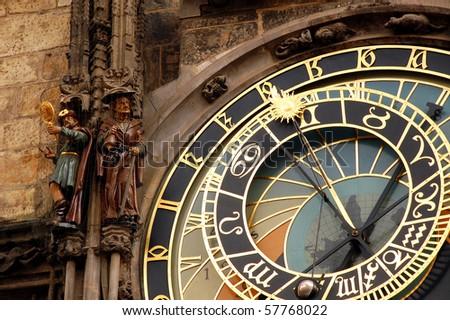 Fragment of astronomical clock in Prague in Czech Republic