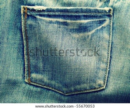 fragment of blue modern jeans with pocket, can be used as a background