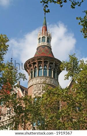 "Fragment of casa Terradas (""Building with spires"") by Josep Puig i Cadafalch (1867-1956). Barcelona, Spain."