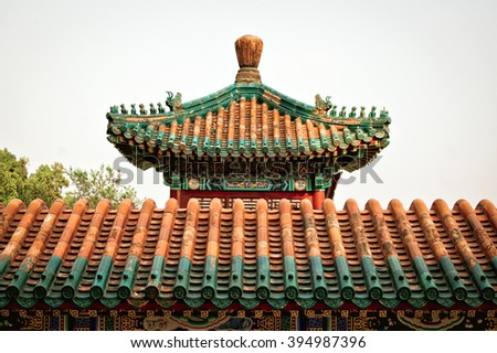 Fragment of Chinese roof in the temple