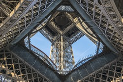 Fragment of construction Eiffel Tower (La Tour Eiffel). Paris, France. Eiffel Tower named after engineer Gustave Eiffel, is tallest structure in Paris and most visited monument in world.