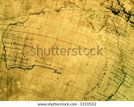 fragment of early ancient map of australia then called nova hollandia. 17th century - stock photo