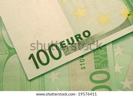 fragment of 100 euro banknotes