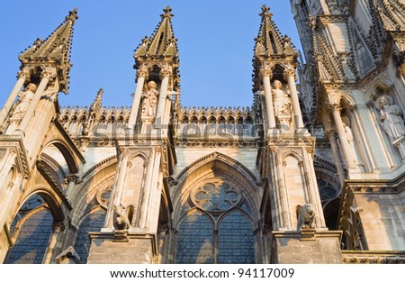 fragment of facade gothic catholic Notre Dame Cathedral in Reims, France