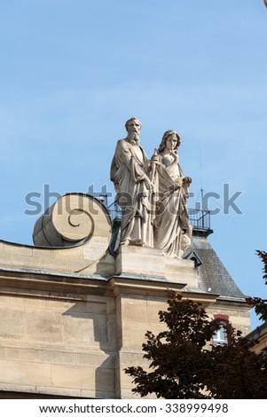 chapelle de la sorbonne. Fragment Of Facade The Chapelle De La Sorbonne In Paris, France #338999498