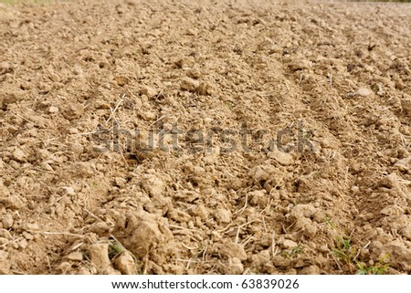 Fragment of field with plowed soil