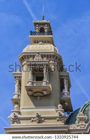 Fragment of Grand Theatre de Monte Carlo. Monte Casino complex located includes a casino and Grand Theatre de Monte Carlo. Monte Carlo, Monaco. #1333925744
