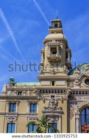 Fragment of Grand Theatre de Monte Carlo. Monte Casino complex located includes a casino and Grand Theatre de Monte Carlo. Monte Carlo, Monaco. #1333925753
