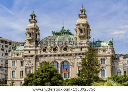 Fragment of Grand Theatre de Monte Carlo. Monte Casino complex located includes a casino and Grand Theatre de Monte Carlo. Monte Carlo, Monaco. #1333925756