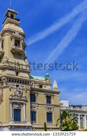 Fragment of Grand Theatre de Monte Carlo. Monte Casino complex located includes a casino and Grand Theatre de Monte Carlo. Monte Carlo, Monaco. #1333925759