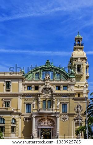 Fragment of Grand Theatre de Monte Carlo. Monte Casino complex located includes a casino and Grand Theatre de Monte Carlo. Monte Carlo, Monaco. #1333925765